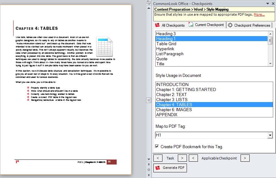 Screenshot Of The CommonLook Office Style Mapping Checkpoint.  Microsoft Word User Manual