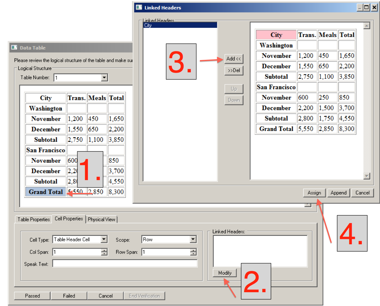 Table editor 508 accessibility compliance for Table th link