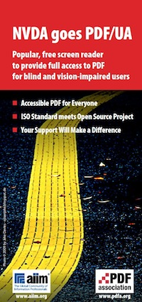 "Cover of PDF Association flyer for ""NVDA goes PDF/UA"" project."