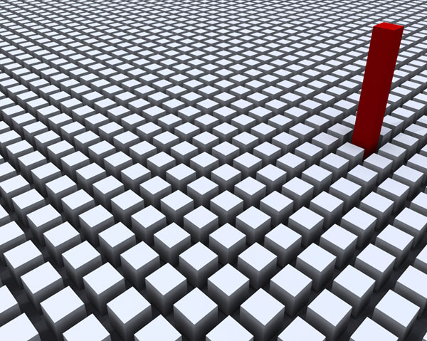 red-cube-stands-out