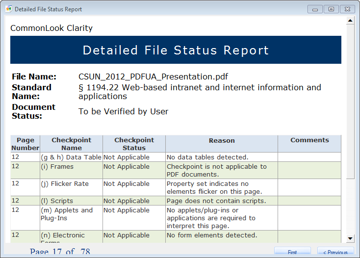 what is status report