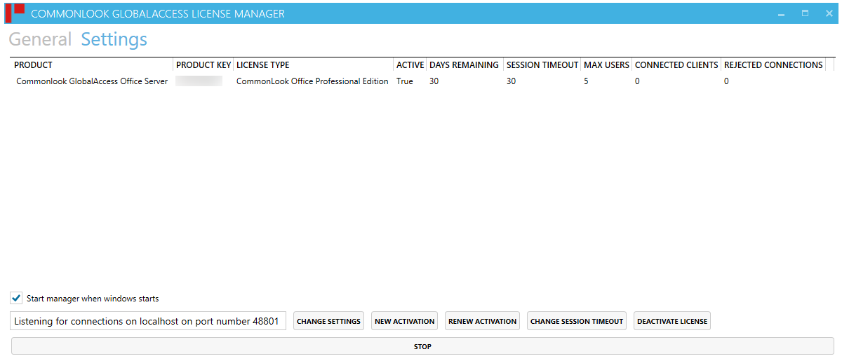 The Settings Window in the CommonLook Global Access Licensing Server Manager.