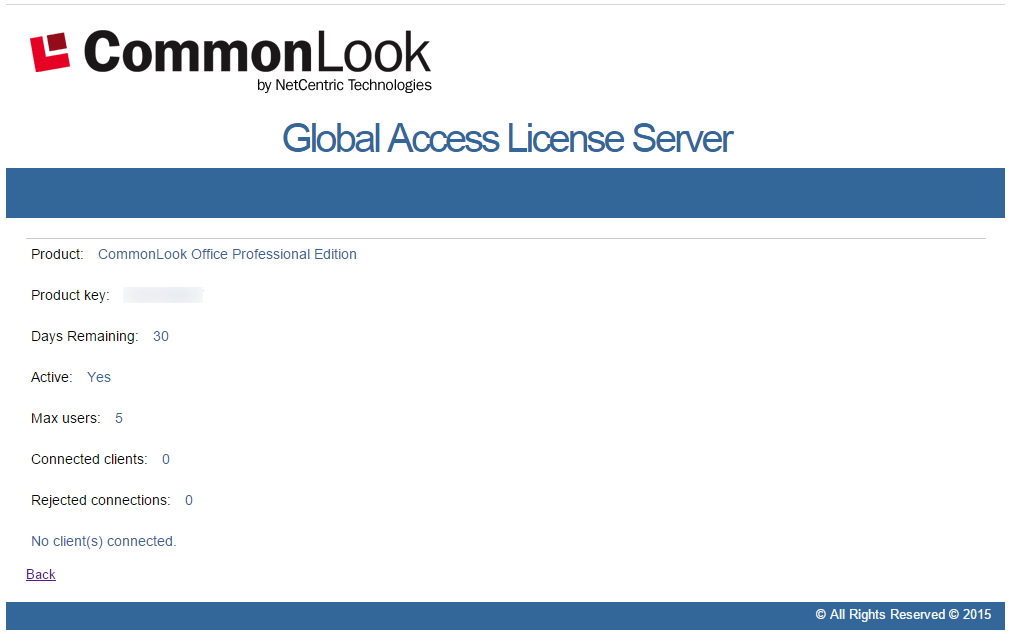 The CommonLook Global Access Licensing Server Reporter Details window.