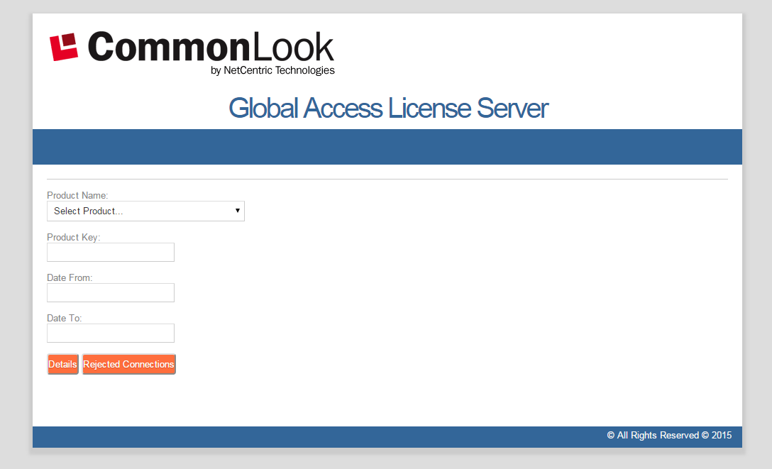Screen shot of the Licensing Server Reporter window.