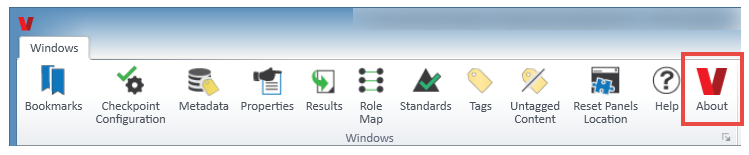 The About button in the ribbon of the Windows tab in the CommonLook PDF Validator.