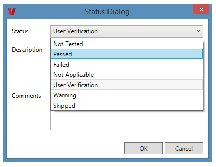 The Status Dialog window open and the checkpoint status dropdown expanded.
