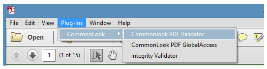 The ribbon in Acrobat showing Plug-Ins, CommonLook, and the CommonLook PDF Validator launch.