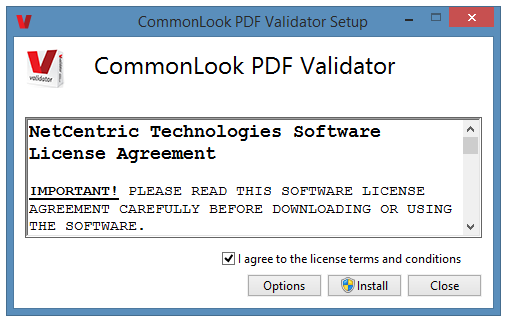 The License Agreement dialog in the CommonLook PDF Validator.