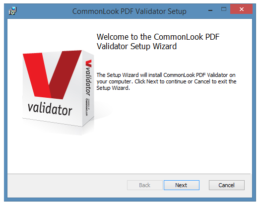 The Setup wizard for the CommonLook PDF Validator.