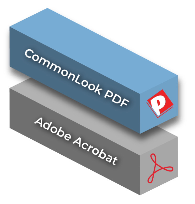 Two bricks showing CommonLook PDF on top and Adobe Acrobat underneath it
