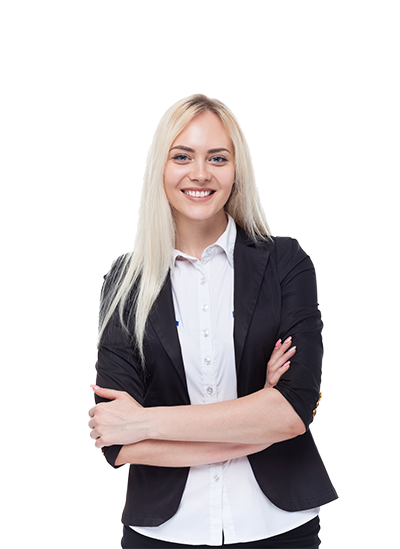 blonde female business woman smiling at camera