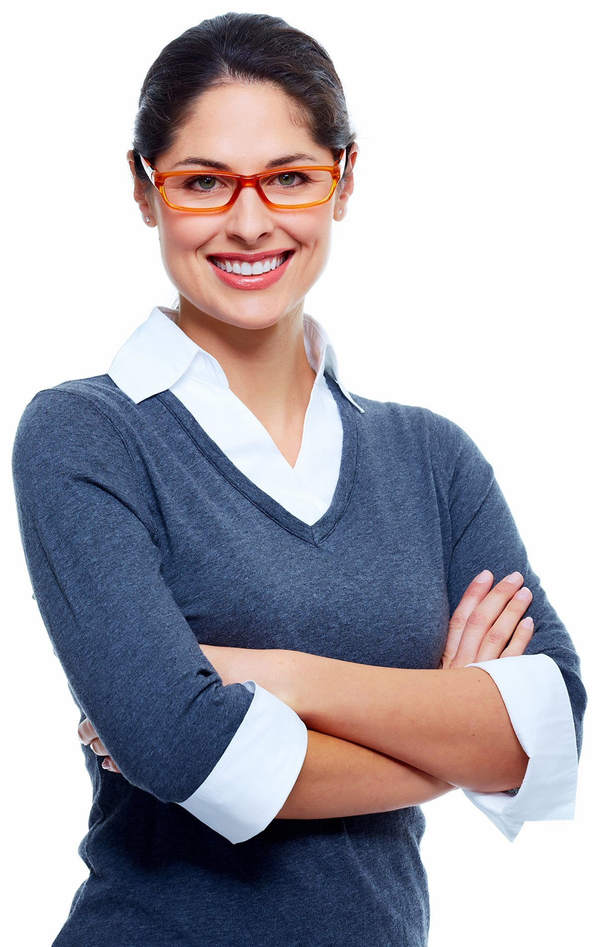 Woman with her arms folded, her hair up and wearing red glasses and casual work clothes, smiles at camera.