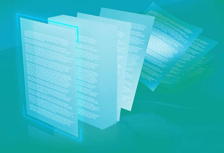 illustration showing layers and layers of digital documents falling down in a blue green background