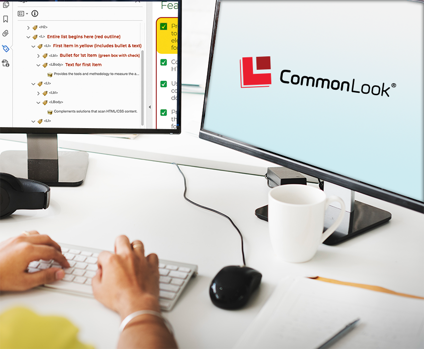 a computer developer looks at two side-by-side monitors on his desk; one with the CommonLook logo and the other with PDF tags