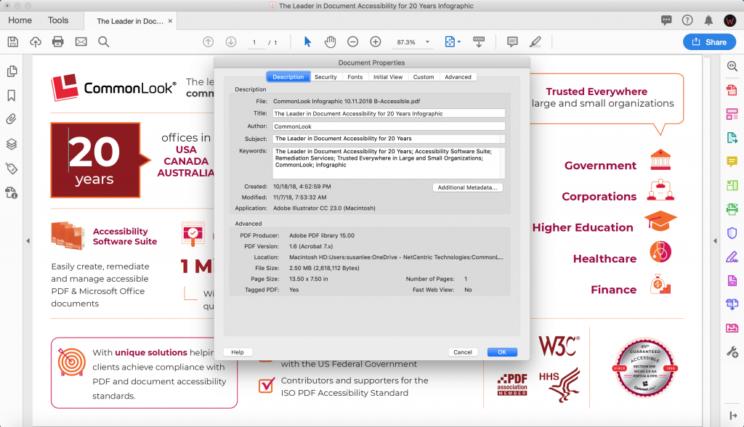 screenshot of a PDF document's metadata in Adobe Acrobat Pro