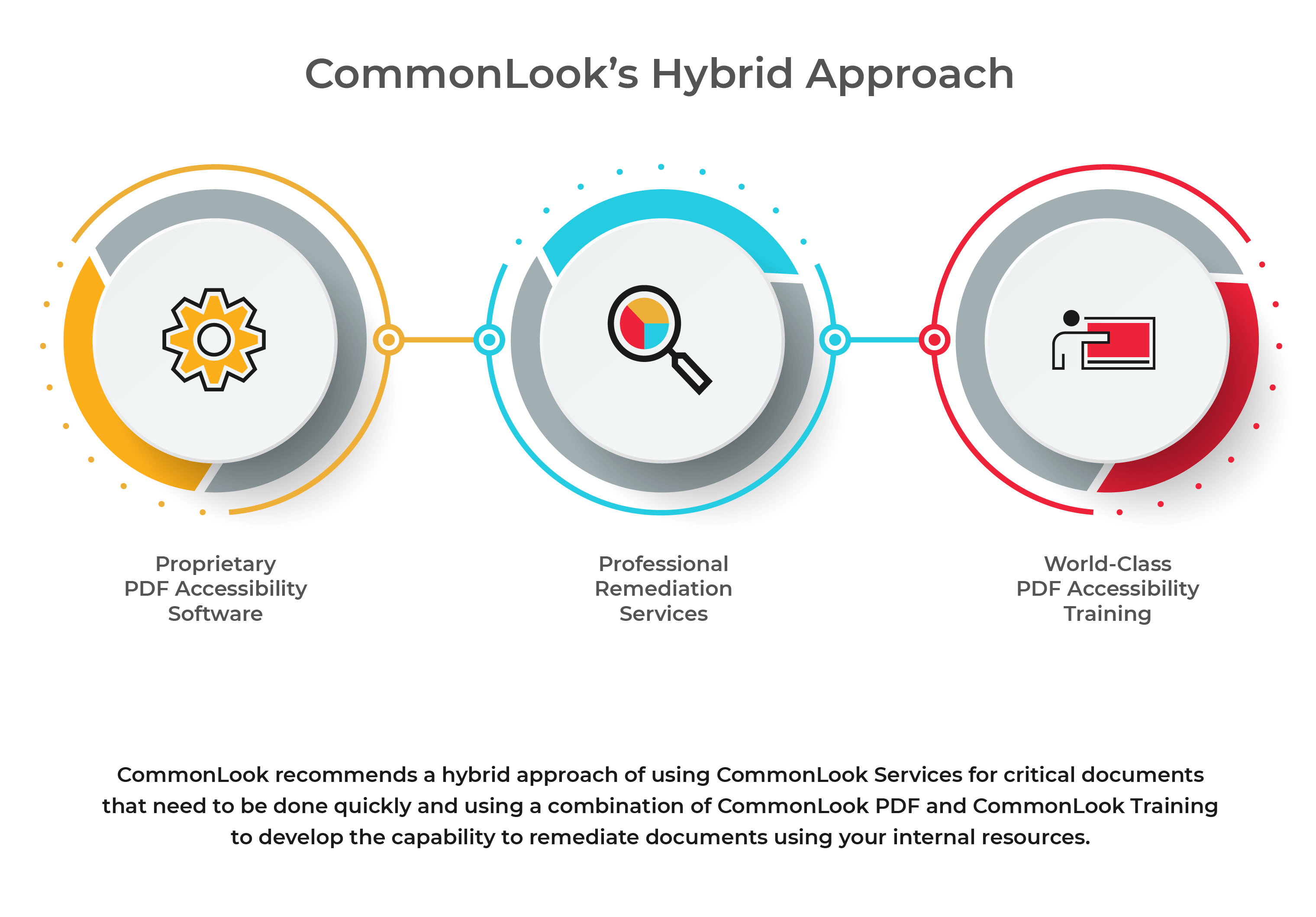 CommonLook Hybrid approach: proprietary software, professional remediation services and world-class pdf accessibility training