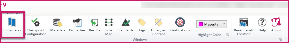 The Windows tab in the CommonLook PDF Validator. The Bookmarks button is highlighted.
