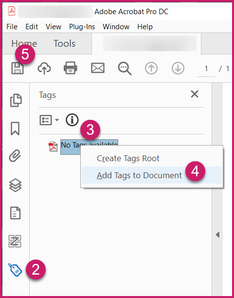 Screenshot showing the steps to add tags to a PDF as previously outlined.