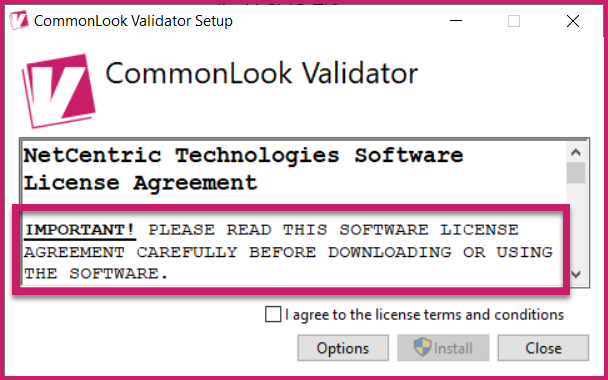 The License Agreement is highlighted in the CommonLook Validator Setup dialog.