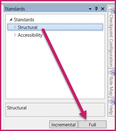 The Standards panel showing the Structural check option selected and the Full check button identified.