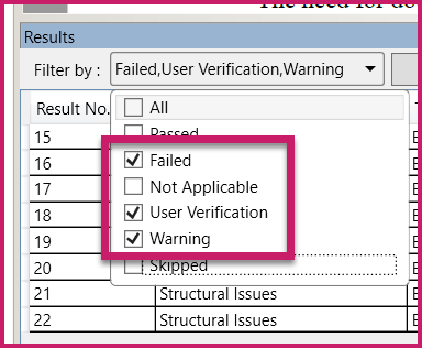 The Filter By drop down menu is expanded with the checkbox for All unchecked and the checkboxes for Failed, User Verification, and Warning are selected.