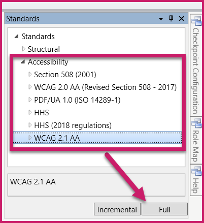 Screenshot with the accessibility standards options and the Full validation button highlighted.