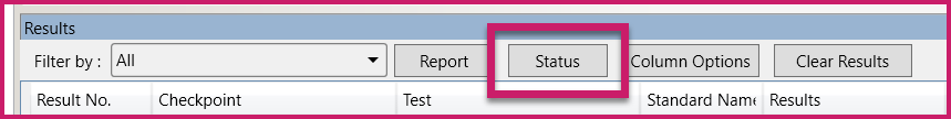 The buttons at the top of the Results panel in the CommonLook PDF Validator. The Status button is highlighted.