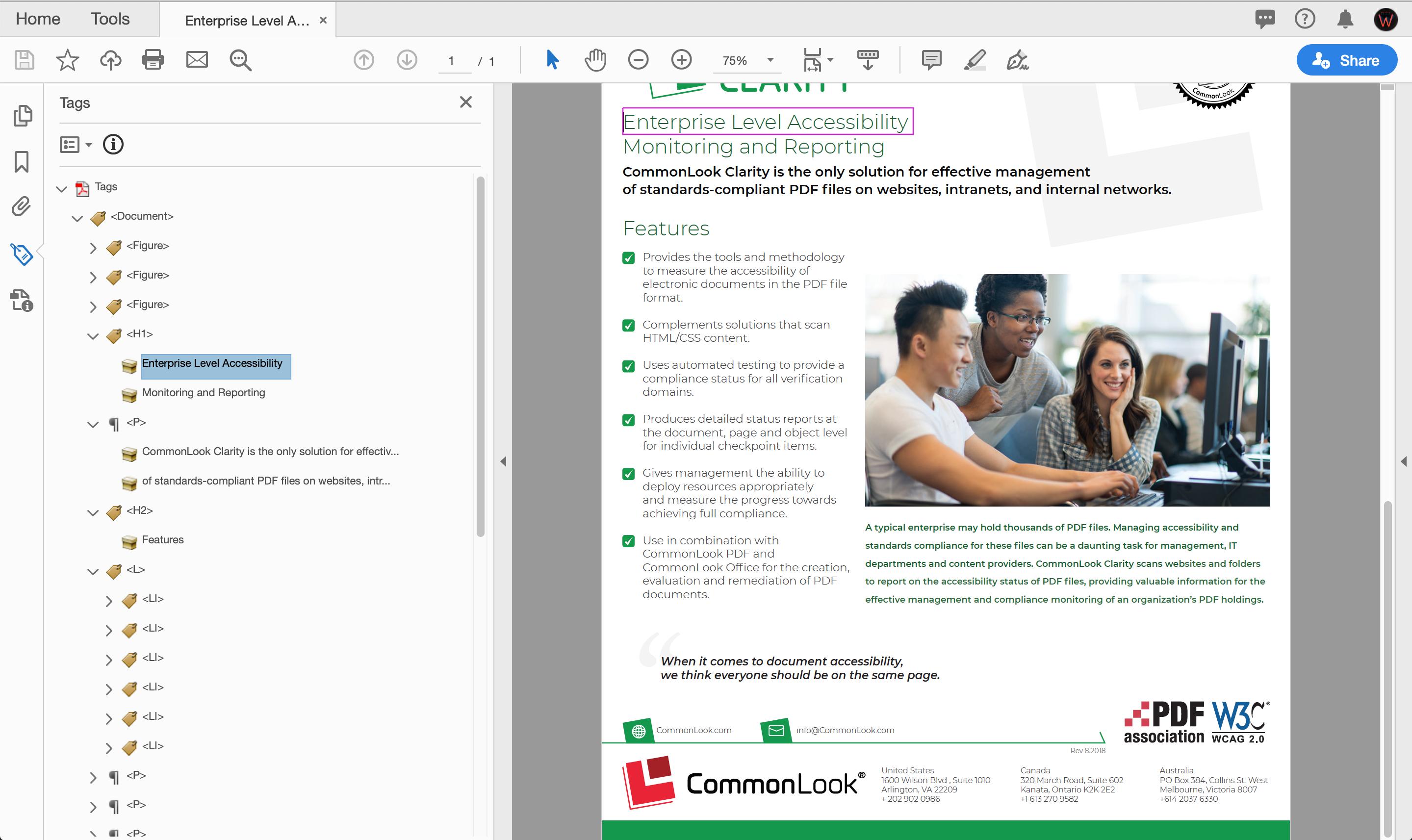 Screenshot of Adobe Acrobat Tag Sidebar Menu