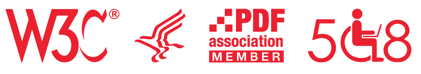 logos for W3C, HHS, PDF Association and Section 508