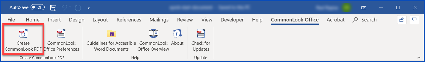 The Create CommonLook PDF button on the Ribbon in CommonLook Office in Word.