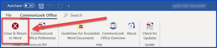 The Close and Return to Word button is highlighted in the CommonLook Office ribbon.