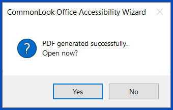The dialog box to open the PDF.