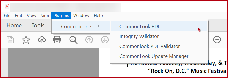 The Plug-ins menu in Adobe Acrobat expanded to show the option for CommonLook and CommonLook PDF.