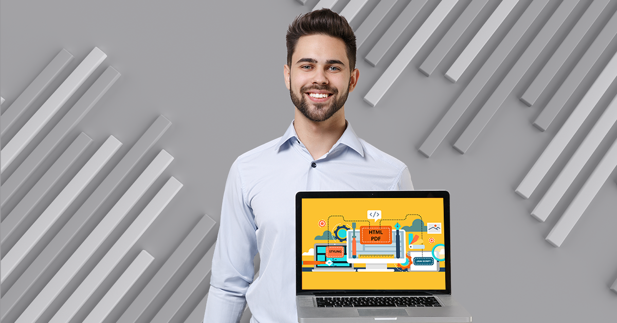 professional man smiles and holds a laptop in his hand whose screen shows an illustration of webinar series