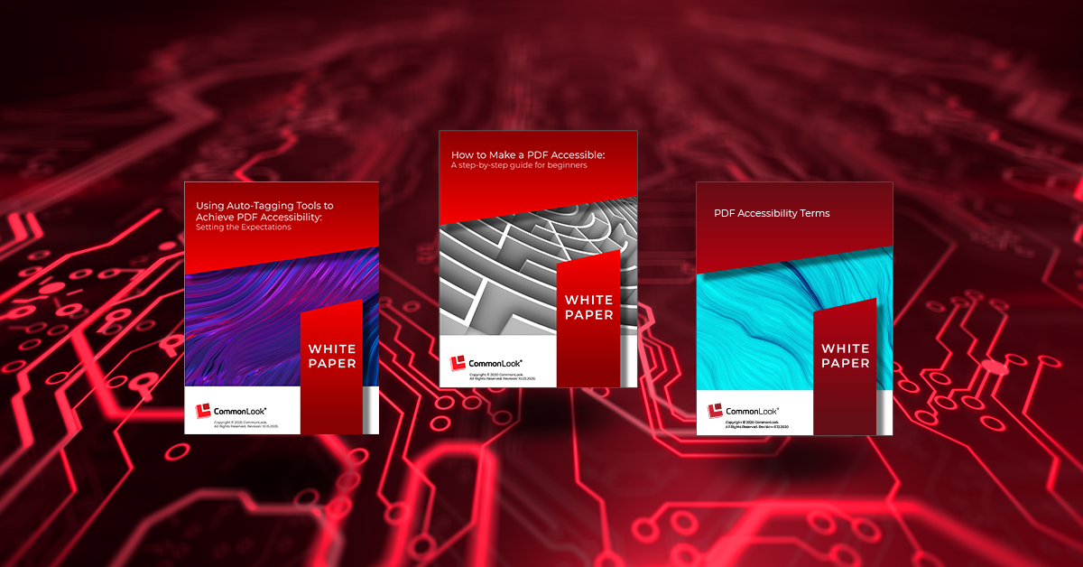 covers of three popular white papers of commonlook on a red background