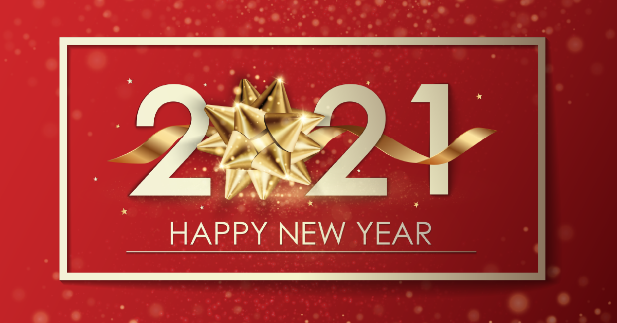 image of a new year card with the digits 2021 written against a red background
