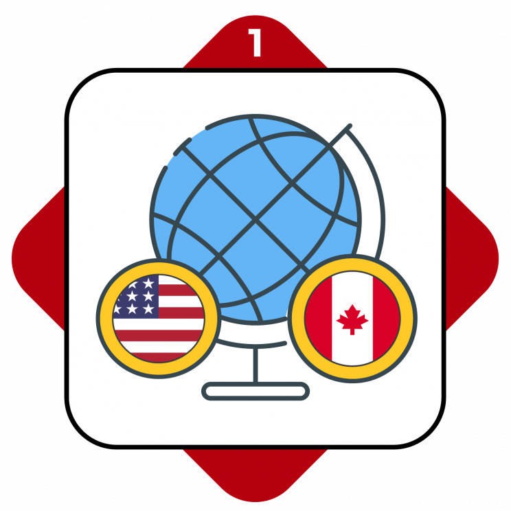 Higher Ed Promo Terms #1 showing USA and Canada flags in front of a globe