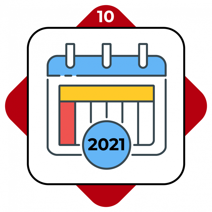 Higher Ed Promo Terms #1 showing a calendar with 2021 on it