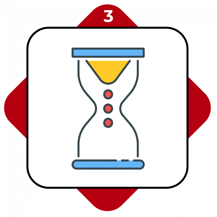 Higher Ed Promo Terms #3 showing an hourglass