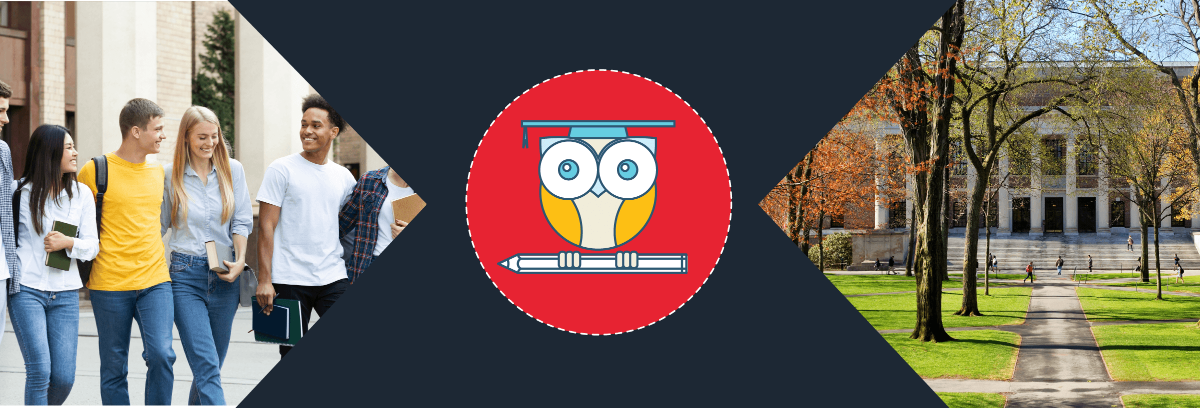 Education Promo banner of a diverse group of college students and a university campus pointing to an owl on a branch