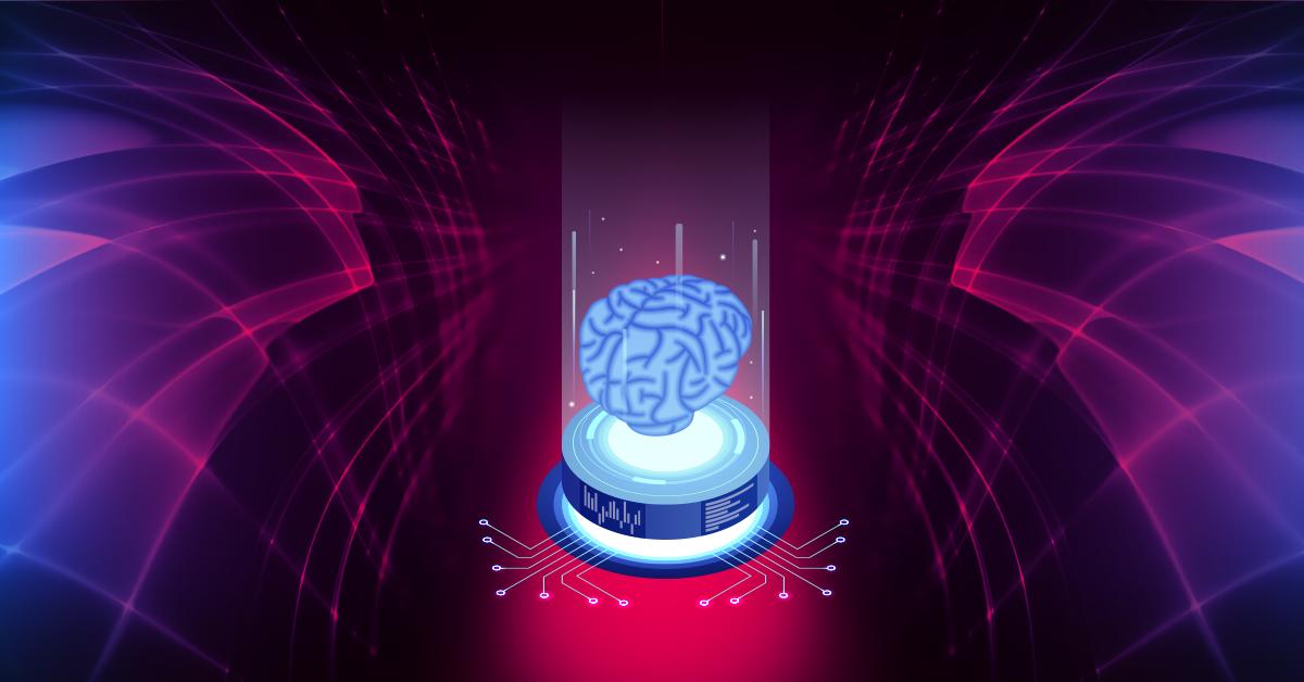 a cyber brain hovers over a futuristic portal