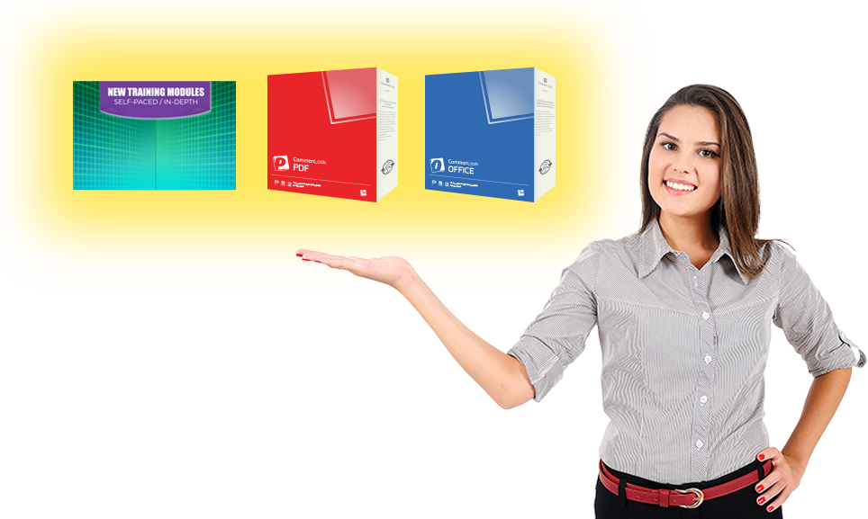 a young business woman holds three floating items: module-based training, CommonLook PDF and CommonLook Office