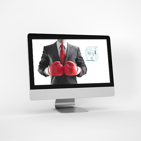 image of a computer screen which shows a professional man wearing boxing gloves