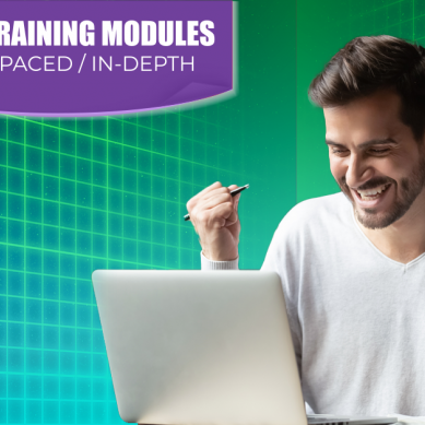 man cheering at his desk while banner says New Training Modules: Self-Paced and In-Depth