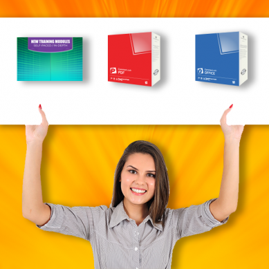 Smiling woman raises sign showing training modules, ComonLook PDF and CommonLook Office