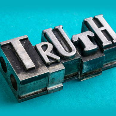 """the word """"truth"""" written in a large font on a turqoise background"""