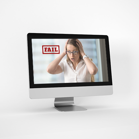 image of a computer screen which shows a Frustrated business woman stares at her computer