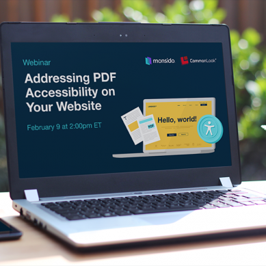 a laptop screen displays the poster of a webinar about pdf accessibility